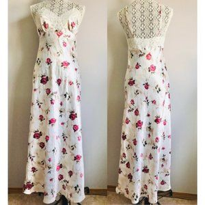 Vintage Martha B floral rose lace slip maxi dress bow and pearl detail size S